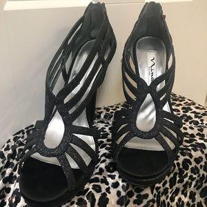 Nina black glitter heels
